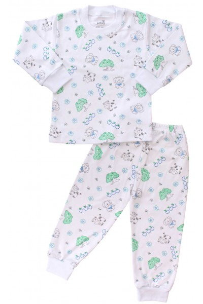 pijamale copii bumbac ferma verde