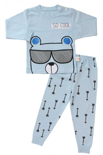 pijama copii bumbac premium bleu so cool