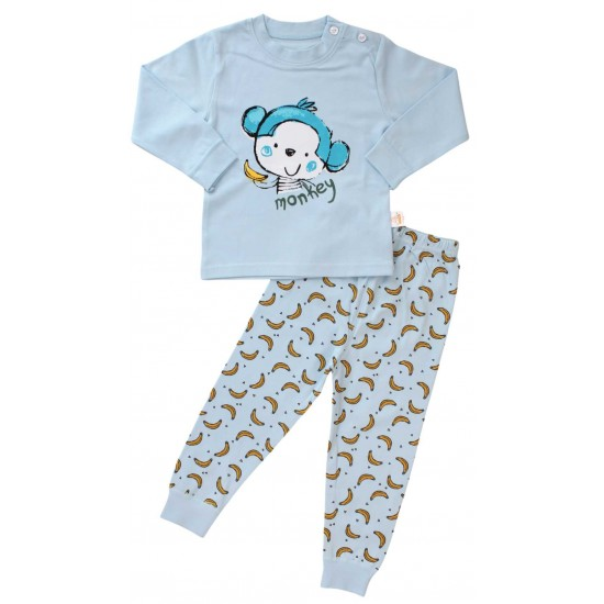 pijamale copii bumbac premium bleu monkey