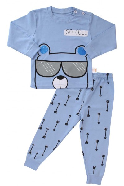 pijamale copii bumbac premium albastru so cool