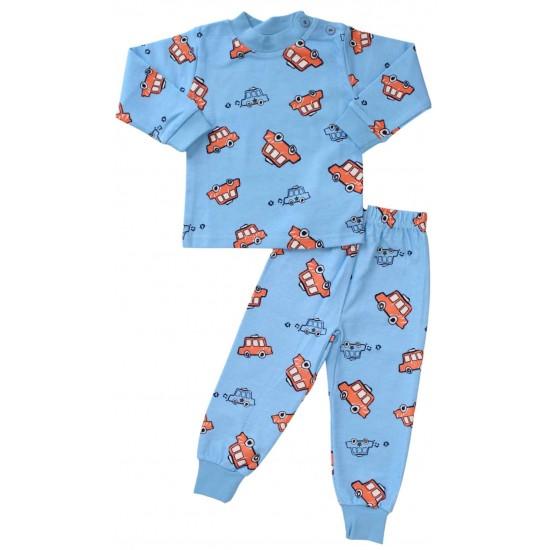 pijamale copii bumbac premium albastru masinute