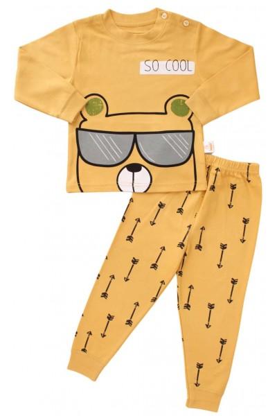 pijamale copii bumbac premium galben-mustar