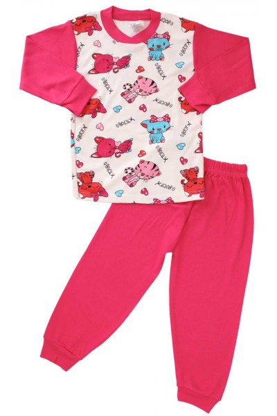 pijama bumbac fete cyclame pisica