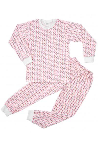 pijamale copii bumbac subtire azuga imprimeu rosu