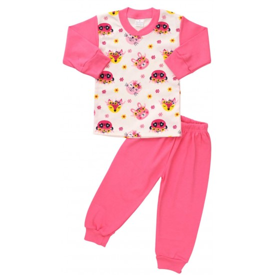 pijamale bumbac copii roz animalute