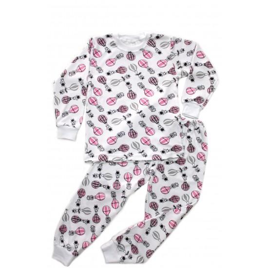 pijama copii azuga imprimeu baloane roz-negru
