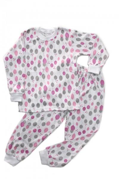 pijama copii azuga imprimeu baloane roz-gri