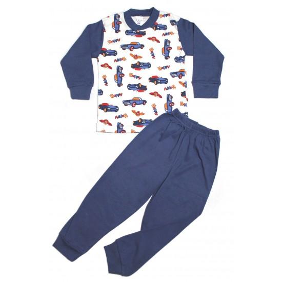 pijama copii sdm bleumarin imprimeu masini happy
