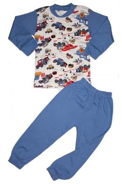 pijama copii kateon albastra imprimeu masini epoca