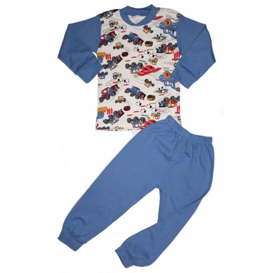pijama copii kateon albastra imprimeu tractoare