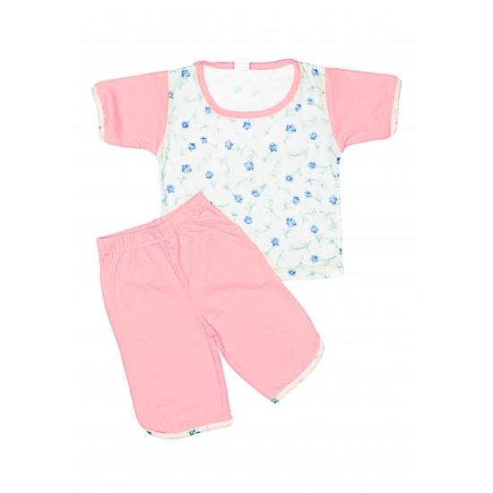 Pijama vara iris roz-vernil cu floricele