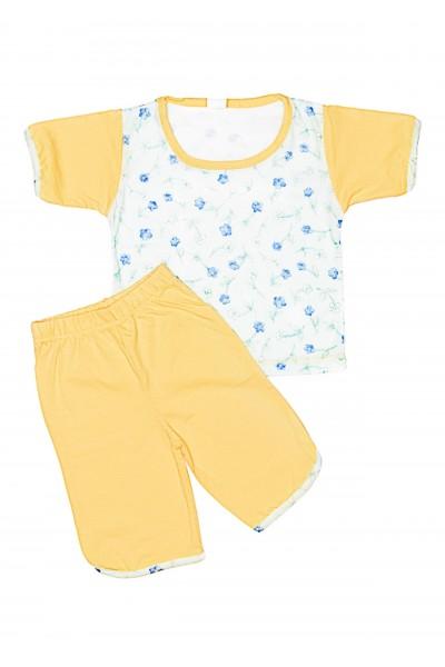 Pijama vara iris galben-vernil cu floricele