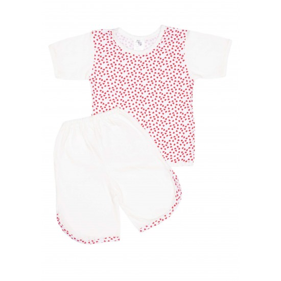 Pijamale copii vara alb inimioare