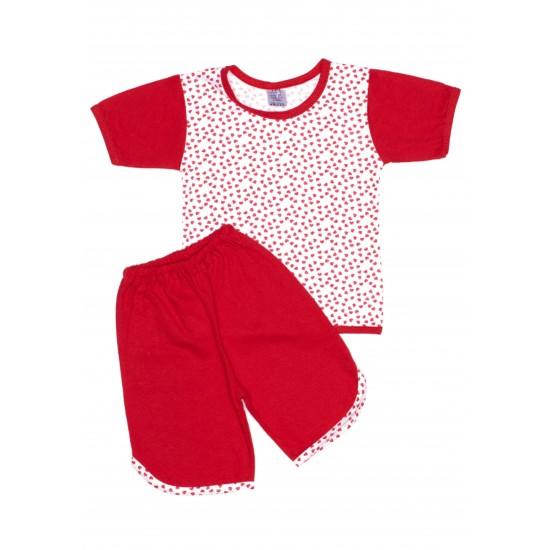 Pijamale copii vara iris rosu inimioare