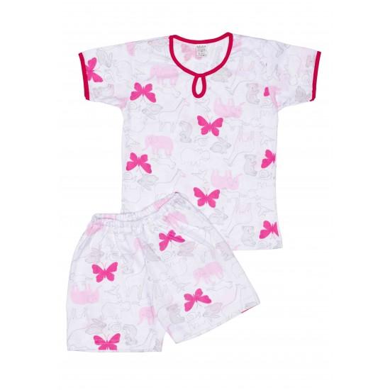 Pijamale copii vara azuga fluturi roz