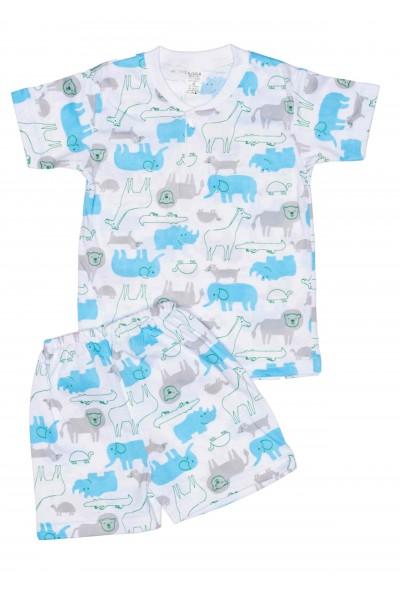 Pijamale copii vara azuga elefanti bleu