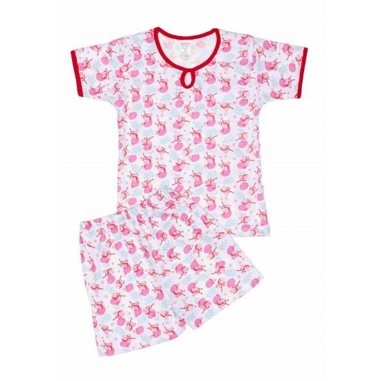 Pijamale copii vara azuga flori roz