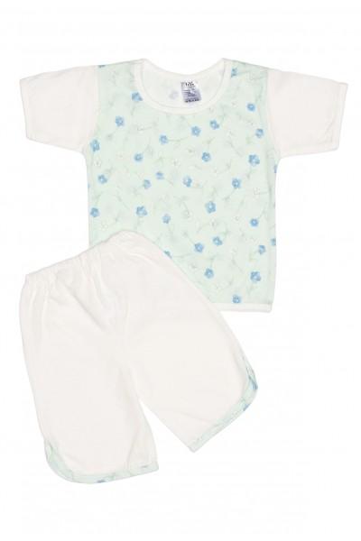 Pijama vara iris alb-vernil cu floricele