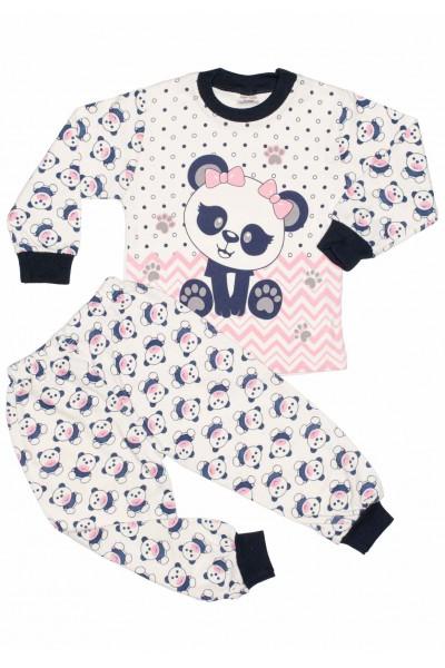 Pijamale copii bumbac imprimeu roz panda
