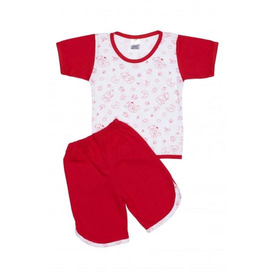 Pijamale copii bumbac subtire ursuleti rosii maneci rosii