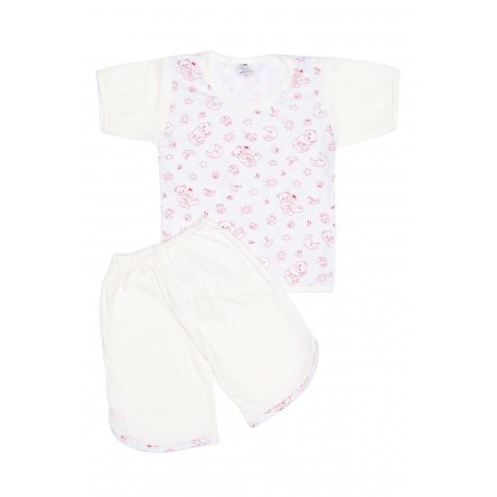 Pijamale copii bumbac subtire ursuleti rosii maneci albe