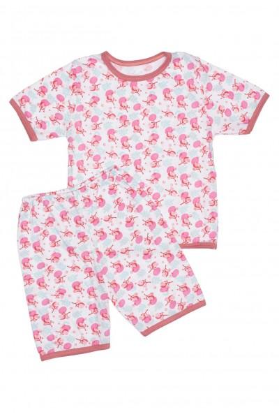 Pijamale copii bumbac subtire imprimeu flori roz