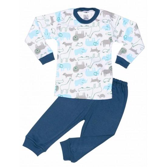 pijamale copii bumbac iris elefanti bleu