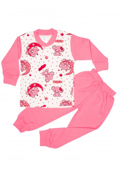 pijama sdm roz imprimeu ursuleti si semiluna