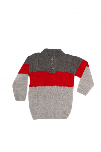 pulover copii aslan gri si rosu