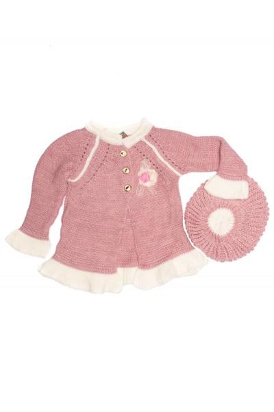 pulover fete tricotat roz-lila+boneta