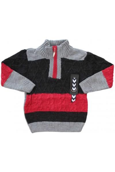 pulover copii rosu-bleumarin fermoar