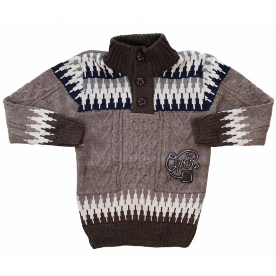 pulover copii maro nasturi