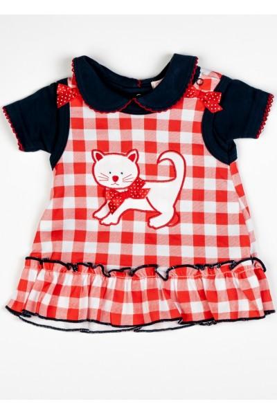Costumas 2 piese fete sarafan+tricou Little Cat rosu-bleumarin