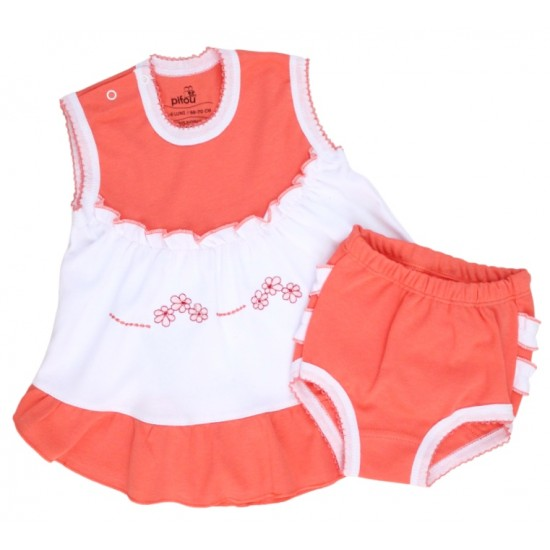 compleu bebe bumbac rochita + chilotel volanase roz piersica model brodat
