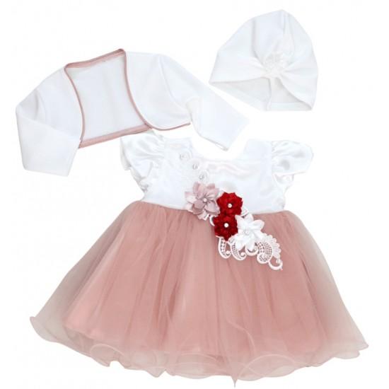rochita botez roz somon broderie flori