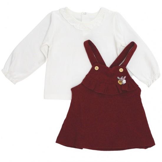 Set fetite bluza si sarafan bordo
