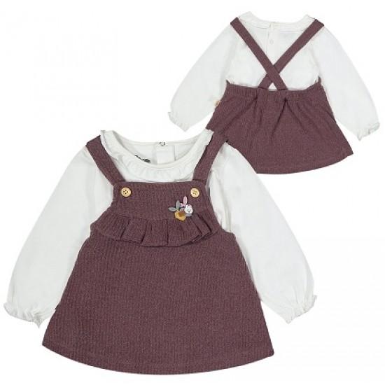 Set fetite bluza si sarafan marsala