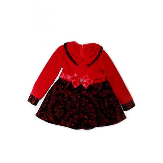 Rochita fetite ubra rosie fustita imprimeu negru catifelat