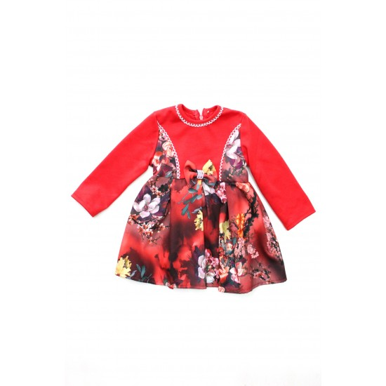 rochita fetite ubra rosie imprimeu floricele