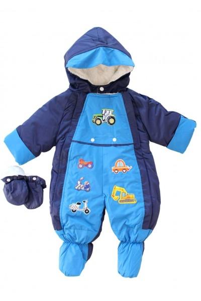 Salopeta bebe groasa pentru exterior albastru-bleumarin masinute