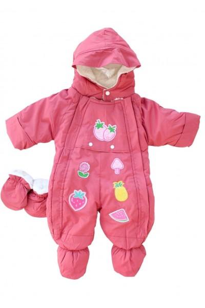 Salopeta bebe groasa pentru exterior roz-marsala