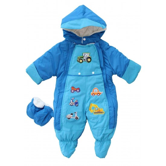 Salopeta bebe groasa pentru exterior bleu-albastru masinute