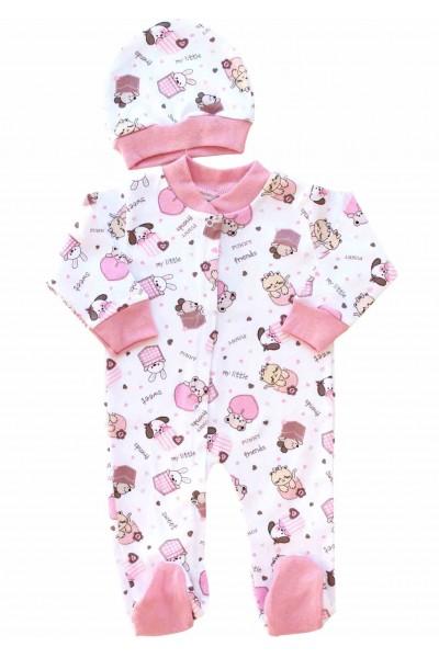Salopeta bebe cu caciulita bumbac anmalute roz