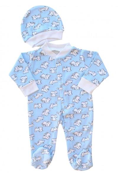 Salopeta bebe cu caciulita bumbac bleu motani