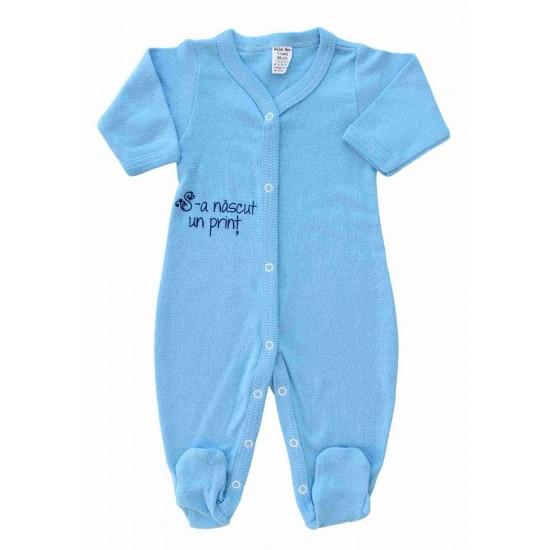 Salopeta bebe bumbac bleu mesaj S-a nascut un print
