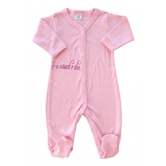 Salopeta bebe bumbac roz mesaj s-a nascut o stea