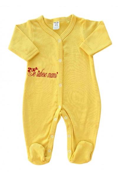Salopeta bebe bumbac galben mesaj te iubesc mami