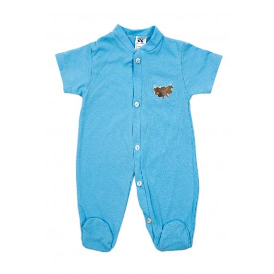 Salopeta bebe bumbac subtire maneca scurta si botosel bleu