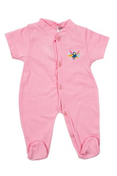 Salopeta bebe bumbac subtire maneca scurta si botosel roz