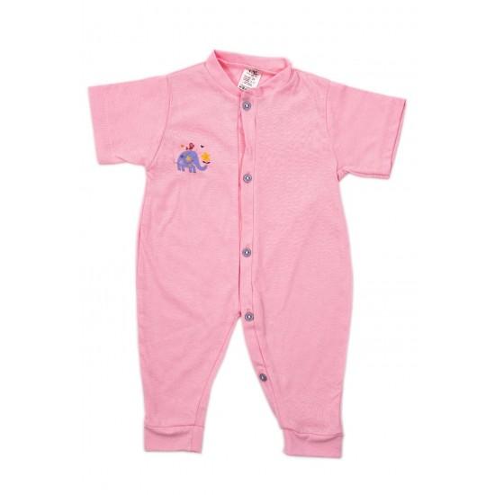 Salopeta bebe bumbac subtire maneca scurta si manseta roz